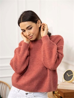 Rosa strikbluse med rund turtleneck